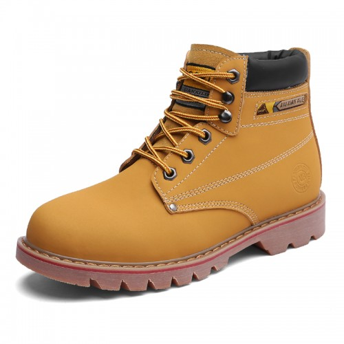 Unisex Height Elevator Chukka Boot Increase 3.2inch / 8cm Yellow Leather Spacious Toe Work Boots