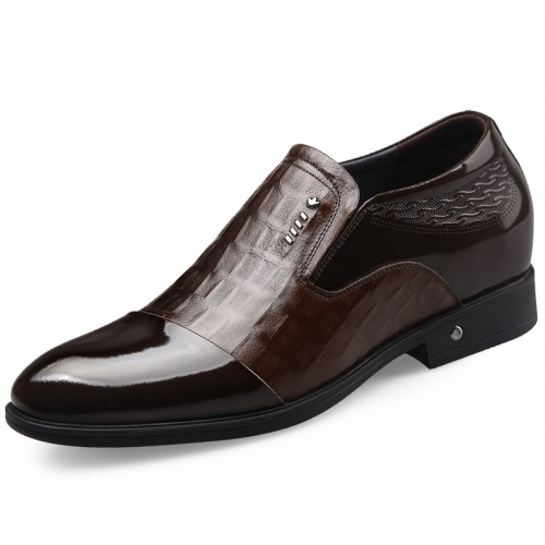Slip On Elevator Men Formal Shoes Get Taller 2.6inch / 6.5cm Brown Shiny Toe Dress Loafers
