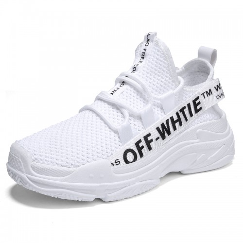 Mesh Men Hidden Lift Sneakers Add Taller 2.6inch / 6.5cm White height increasing runing shoes