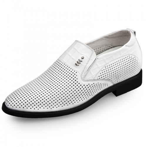 white elevator formal loafers make you look height 2.6inch
