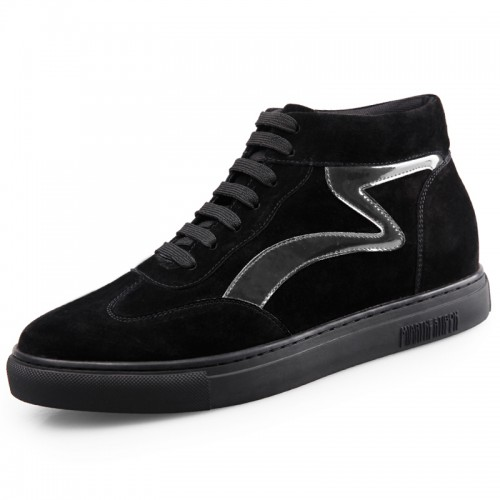 Black Elevator High Top Sneakers for Men Tall 2.2inch / 5.5cm Hidden Heel Skateboarding Shoes