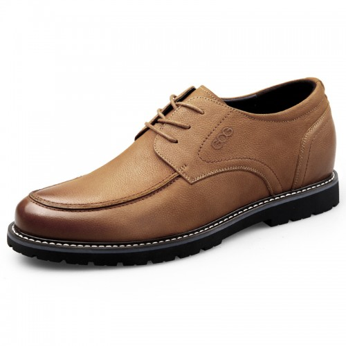 Yellowish-Brown Elevator Casual Oxford for Men Height 2.6inch / 6.5cm Nubuck Business Shoes