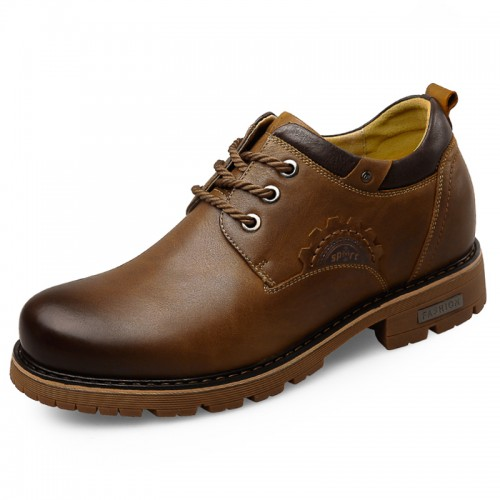 Men Elevator Working Shoes Tall 2.8inch / 7cm Brown Calfskin Spacious Business Shoes