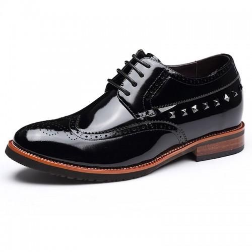 Yuppie brogues elevator formal shoes 7cm / 2.75inch black men tall oxfords