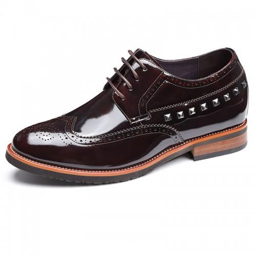 Yuppie brogues taller formal shoes 7cm / 2.75inch coffee hidden heel oxfords
