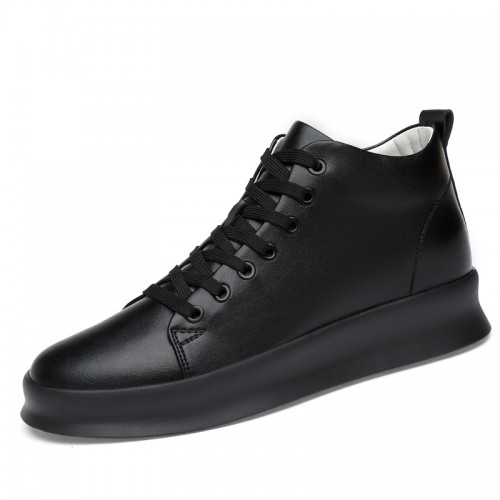 Black Youth Elevator Sneakers Gain Taller 3.2 inch / 8 cm Height Men Casual Shoes