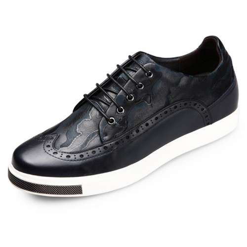 Chic Brogue Skateboarding Shoes Height Increasing 6cm / 2.4inch Black