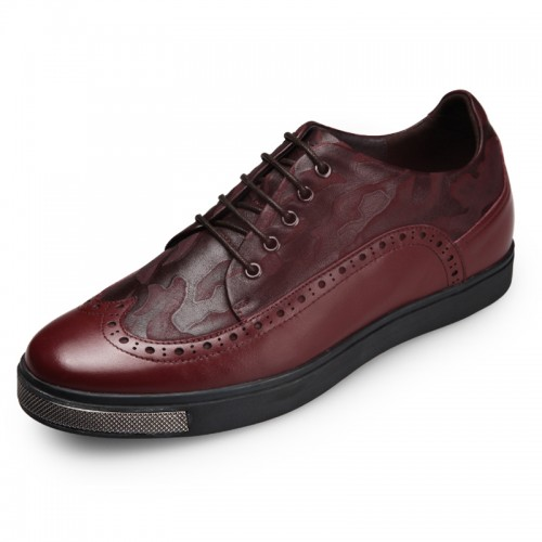 Chic Brogue Skateboarding Shoes Height Increasing 6cm / 2.4inch Wine Red