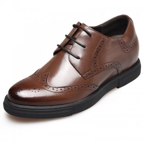 British luxury hidden heel brogue shoes 2.6inch / 6.5cm Brown