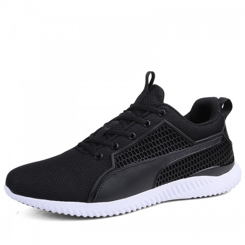 Black Elevator Mesh Sneakers for Men Increase 3 inch / 7.5 cm Lace Up Lightweight Trail Running Shoes