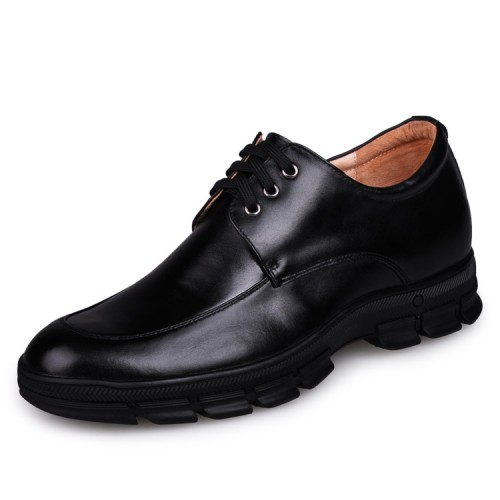 Cow Leather Elevator Shoes 7cm / 2.75inches Men's Low Heel Dress Shoe