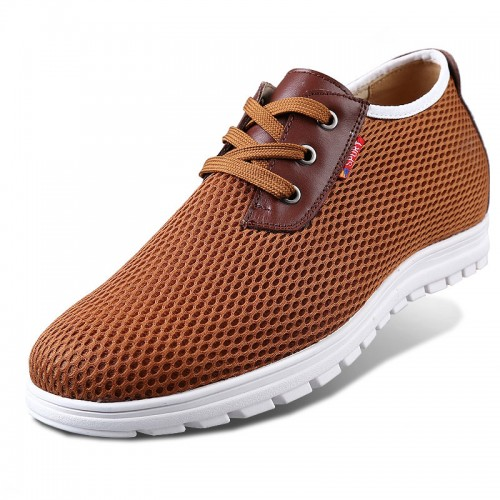 Brown elevator mesh sneakers make tall 6cm / 2.36inch height walking shoes