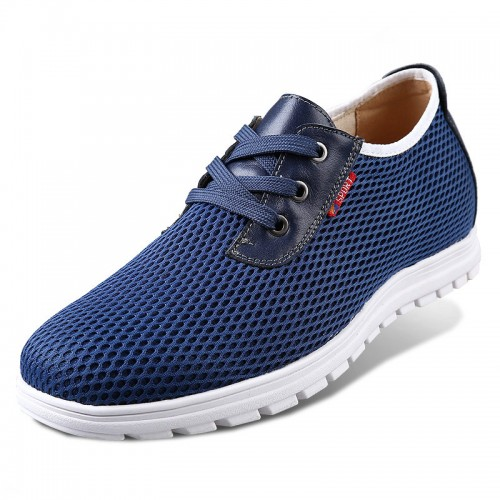 Blue height increasing breathable sneakers 6cm / 2.36inch summer heel lift walking shoes