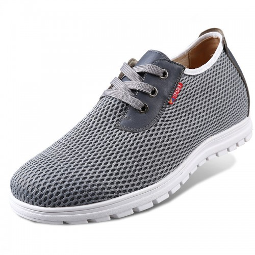 Grey breathability leisure taller sneakers for men gain height 6cm / 2.36inches walking shoes