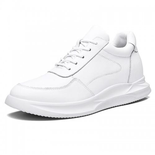 White Leather Hidden Heel Skate Shoes Trendy Elevator Men Sneakers Get Taller 2.8inch / 7cm