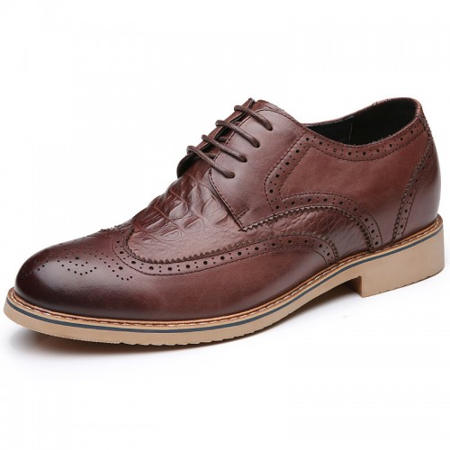 Coffee premium business lift shoes 7cm / 2.75inch height increasing formal derby shoe