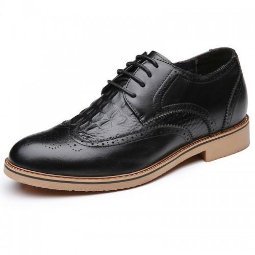 Black premium business elevator shoes 7cm / 2.75inch heel height formal derby shoe