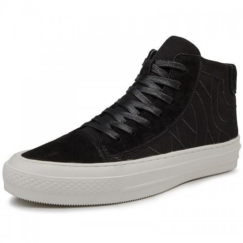 Retro Elevator High Top Skate Shoes for Men Increase 2.8inch / 7cm Black Tide Running Shoe