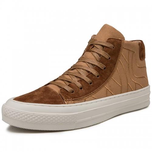 Retro Elevator High Top Skateboard Shoes for Men Taller 2.8inch / 7cm Brown Tide Running Shoe