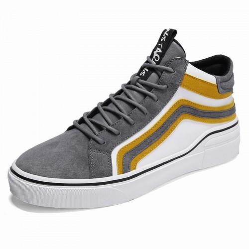 Designer Men Elevator Sneaker heel height 2.8inch / 7cm 2.8inch / 7cm Korean gray High Top Skateboarding Shoes
