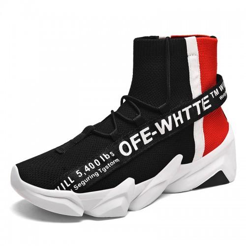 Height Increasing Hi-Top Sneaker Add Taller 3.4inch / 8.5cm Black Elevator Knitted Socks Shoes