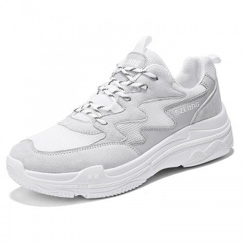 Performance Height Sneakers for men Taller 2.8inch / 7cm White Fashion Walking Shoes