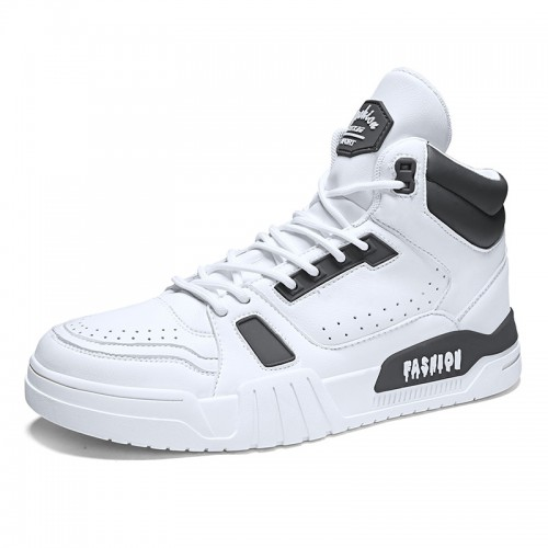 2020 Black-White High Top Elevator Skateboarding shoes for Men Add Height 2.8inch / 7cm Breathable Perforated Sneakers