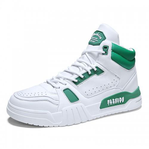 2020 White-Green High Top Taller Skateboarding Shoes Increase Height 2.8inch / 7cm Breathable Perforated Sneakers