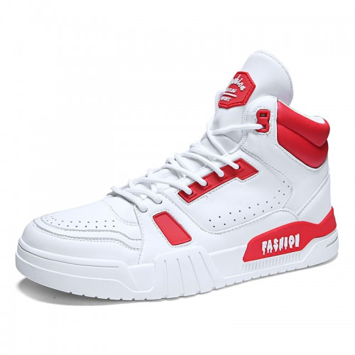 2020 White-Red High Top Taller Men Skateboarding Shoes Increase Height 2.8inch / 7cm Breathable Perforated Sneakers