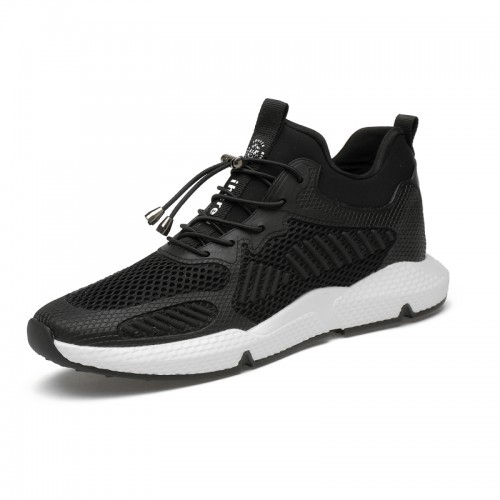 Hidden Height Sneakers for Men Taller 3.2inch / 8cm Black-White Non-Slip Elevator Walking Shoes