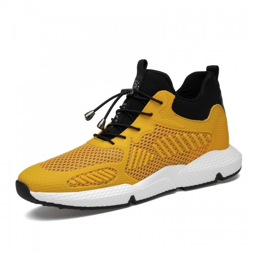 Yellow Hidden Lift Sneakers Add Taller 3.2inch / 8cm Non-Slip Elevator Walking Shoes