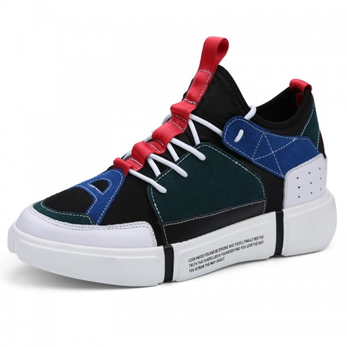 Black Performance Elevator Sneakers for Men Height 3.2inch / 8cm Taller Casual Skateboarding Shoes