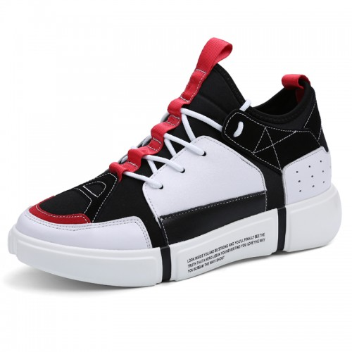 White Performance Men Elevator Sneakers Increase 3.2inch / 8cm Taller Casual Skateboarding Shoes