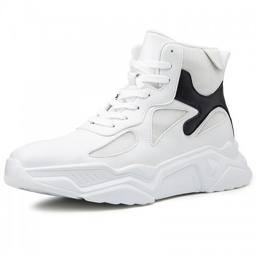 Trendy High Top Height Increasing Sneakers for Men Add Taller 3.2inch / 8cm Korean Elevator Skate Shoes