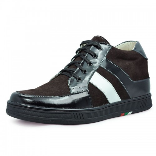 Brown men height increasing casual shoes grow tall 7cm / 2.75inches