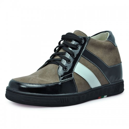 Khaki men height increasing casual shoes become taller 7cm / 2.75inches