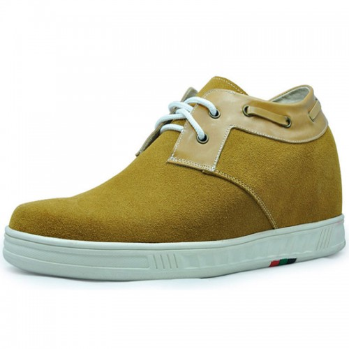 Yellow Suede Leather men extra height casual shoes grow tall 7cm / 2.75inches