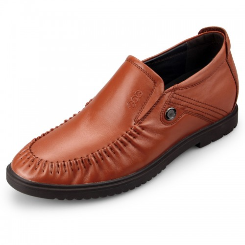 Fashion brown glossy elevated loafers 6cm / 2.36inch taller rounded toe slip on shoes