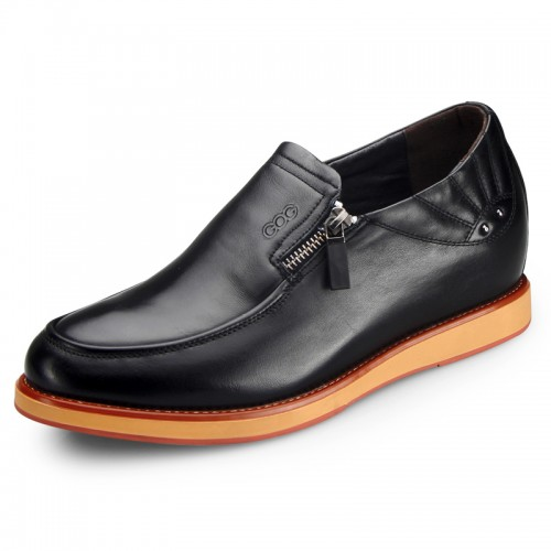 Chic black business elevator boat shoes 6.5cm / 2.56inch hidden heel casual shoes