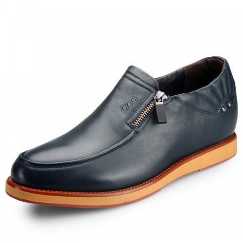 Chic blue business height increasing boat shoes 6.5cm / 2.56inch taller casual shoes