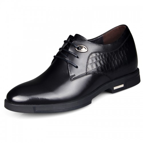Premium calfskin elevated wedding shoes add height 6.5cm / 2.56inch black derby shoes