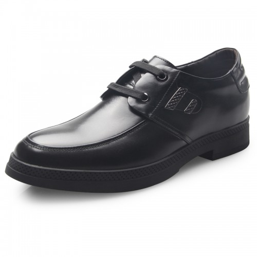 Black elegant elevator formal lace-up shoes height tall 6.5cm / 2.56inch casual business shoes