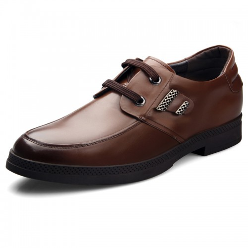 Brown elegant height increasing formal lace-up shoes add tall 6.5cm / 2.56inch casual business shoes