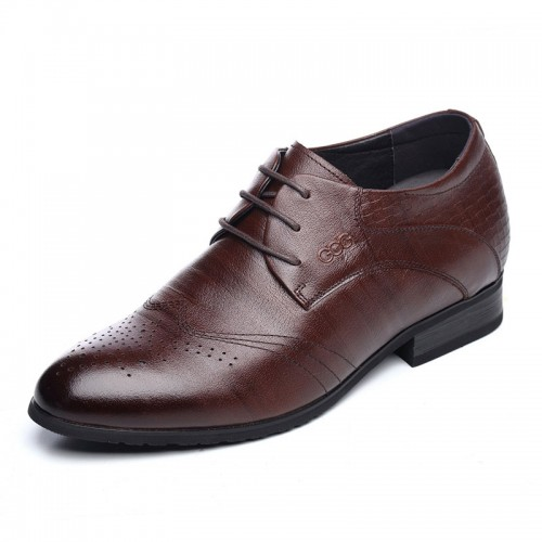 Brogue taller formal shoes height 6.5cm / 2.56inch brown lace up wedding shoes