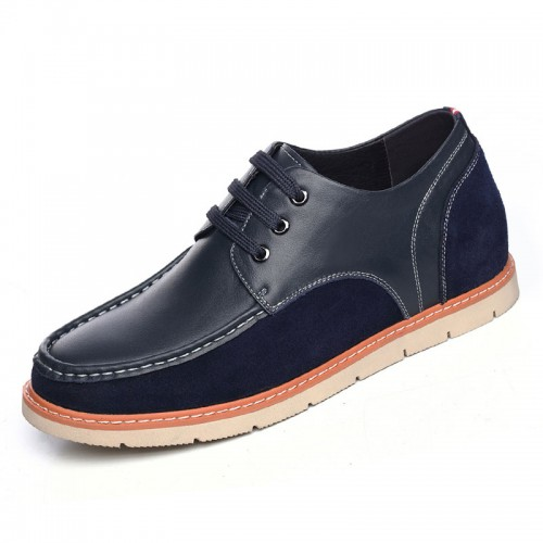 Spring lace up elevator shoes heeled 6cm / 2.36inch taller blue casual shoes