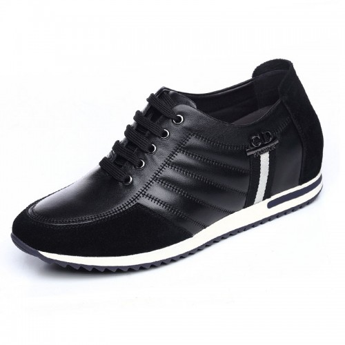 Korean lace up casual shoes increasing height  6cm / 2.36inch elevated driver's shoes