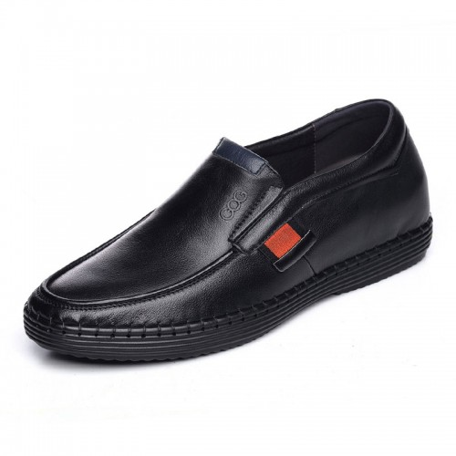 Soft sole elevated boat shoes increase height 6cm / 2.36inch black taller loafers