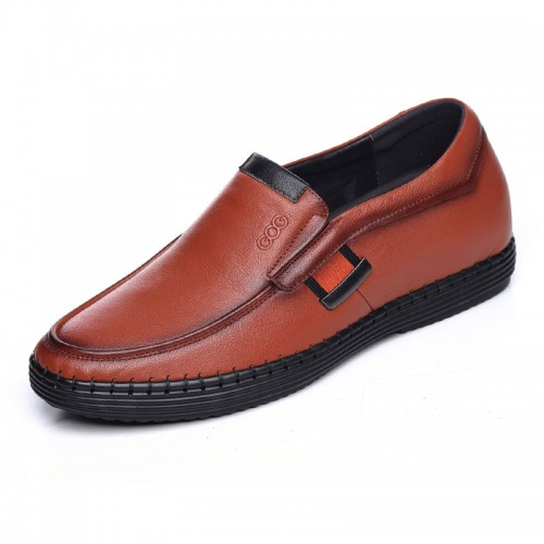 Soft sole elevated boat shoes increase height 6cm / 2.36inch yellow height loafers