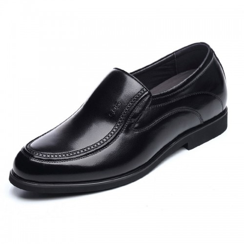 Spring slip on height increasing formal shoes add taller 6.5cm / 2.56inch black dress shoes