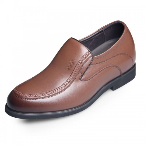 Spring slip on elevator formal shoes add height 6.5cm / 2.56inch brown dress shoes